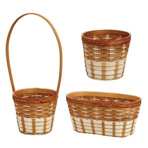 【セール品】6033_ウッドチップと竹のミックスバスケット_キャメル